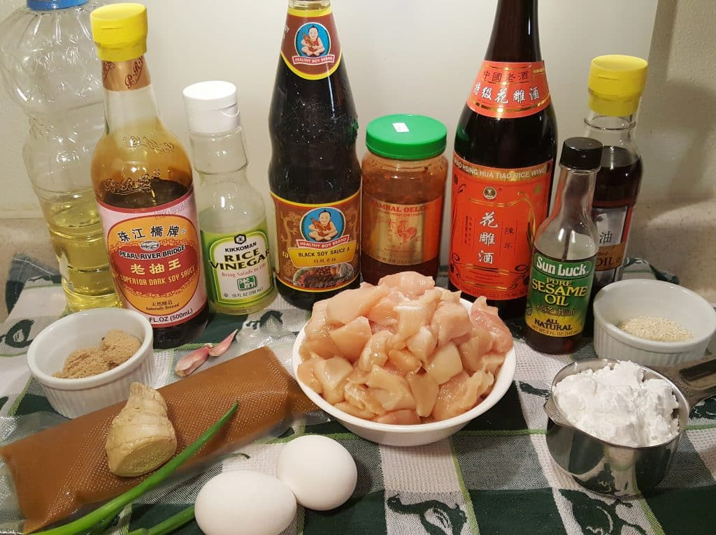 Cast of Ingredients for Pressure Cooker Chinese Take-Out General Tso's Chicken