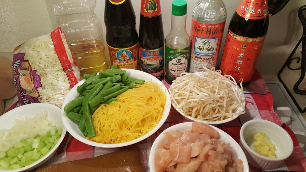 Cast of Ingredients Pressure Cooker Spaghetti Squash Chicken Chow Mein