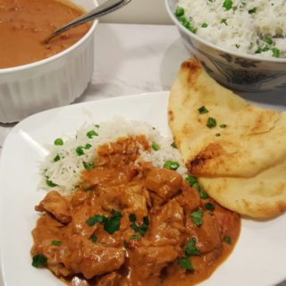 Pressure Cooker Chicken Tikka Masala with Butter Rice & Peas and Naan
