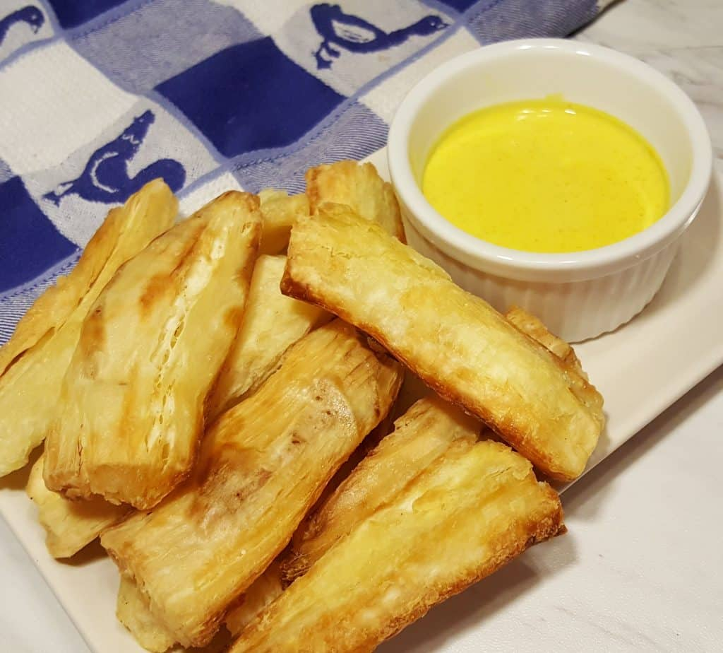 Air Fryer Yucca Fries w/Creamy Curry Mustard Sauce