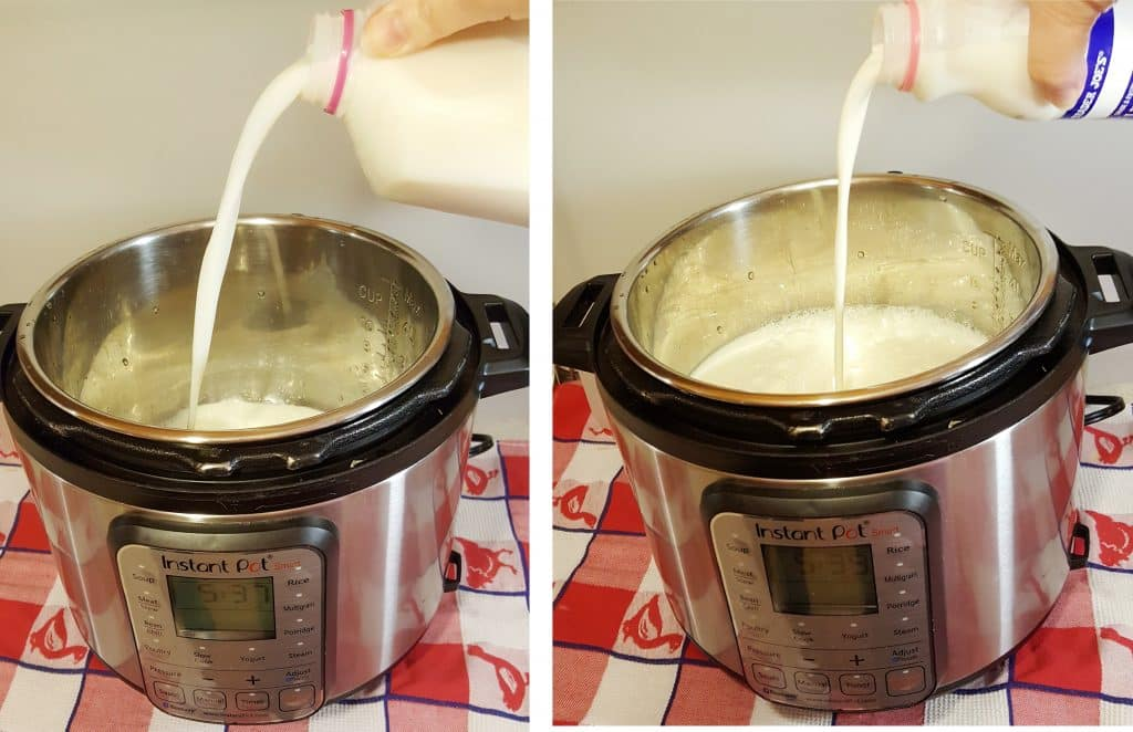 To your Instant Pot, Add Milk and Heavy Cream