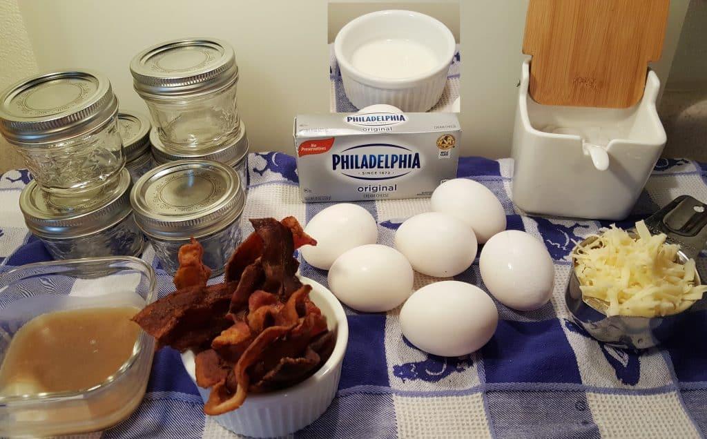 Cast of Ingredients for Sous Vide Bacon and Jarlsberg Egg Bites