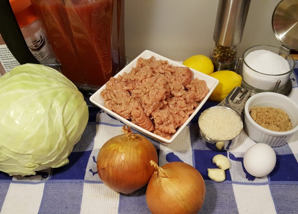 Cast of Ingredients for Pressure Cooker Jewish Sweet and Sour Stuffed Cabbage Syn Diet