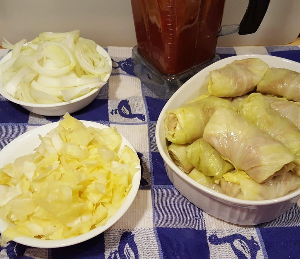 Assemble Cabbage Rolls into the Pressure Cooker