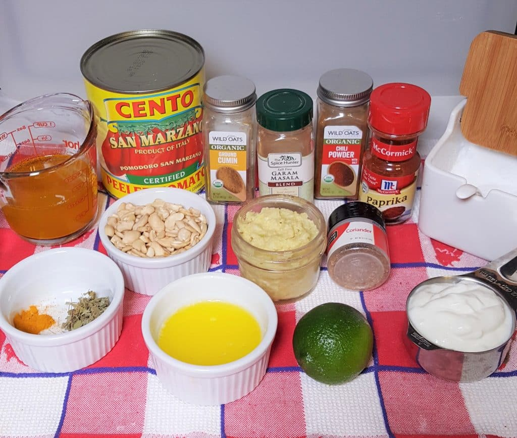 Cast of Ingredients for Instant Pot Butter Chicken
