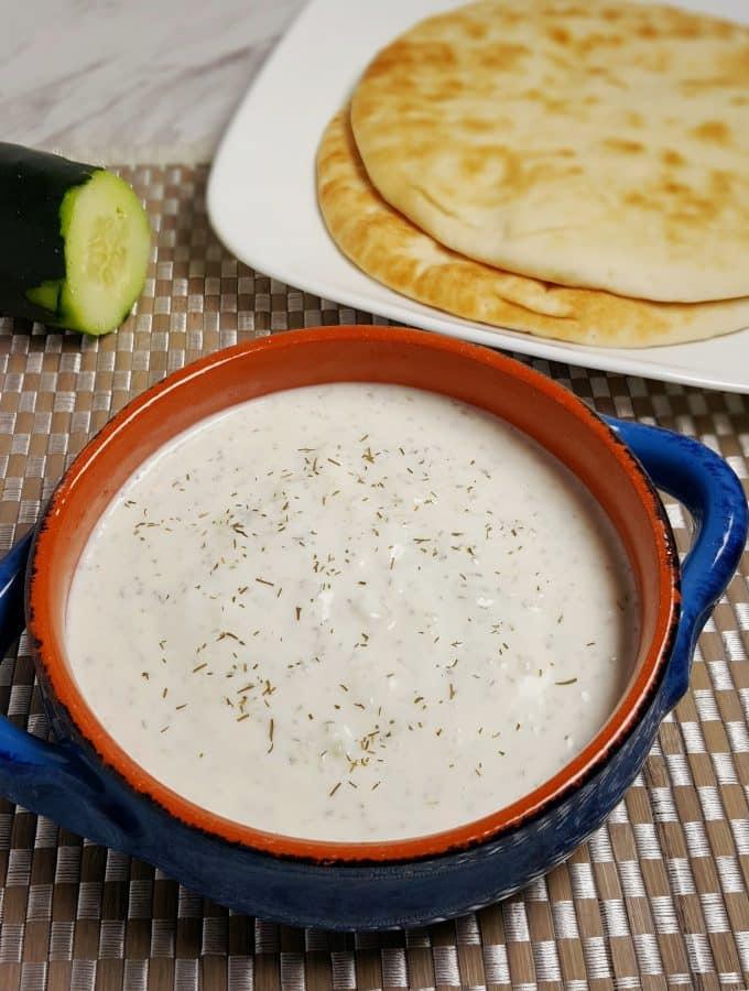 Greek Tzatziki Sauce Recipe {Garlic Cucumber Yogurt Dip}