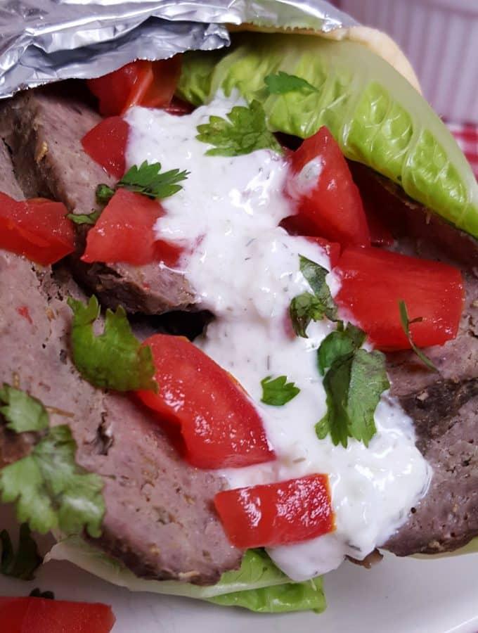 Pressure Cooker Greek Beef Gyros with Tzatziki