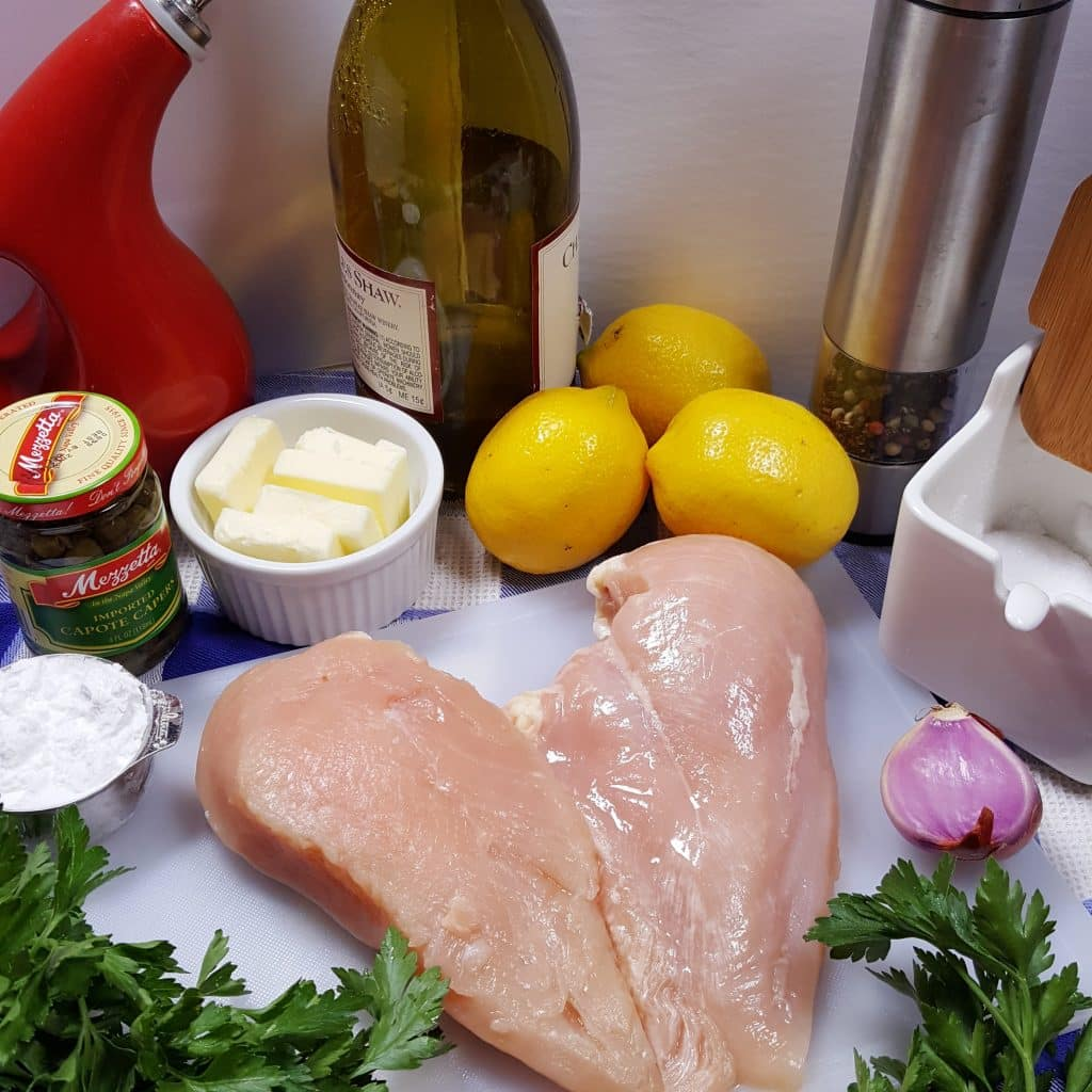 Cast of Ingredients for Pressure Cooker Chicken Piccata