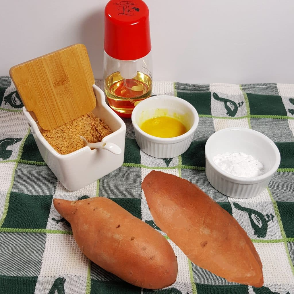 Cast of Ingredients for Air Fryer Crispy Sweet Potato Fries