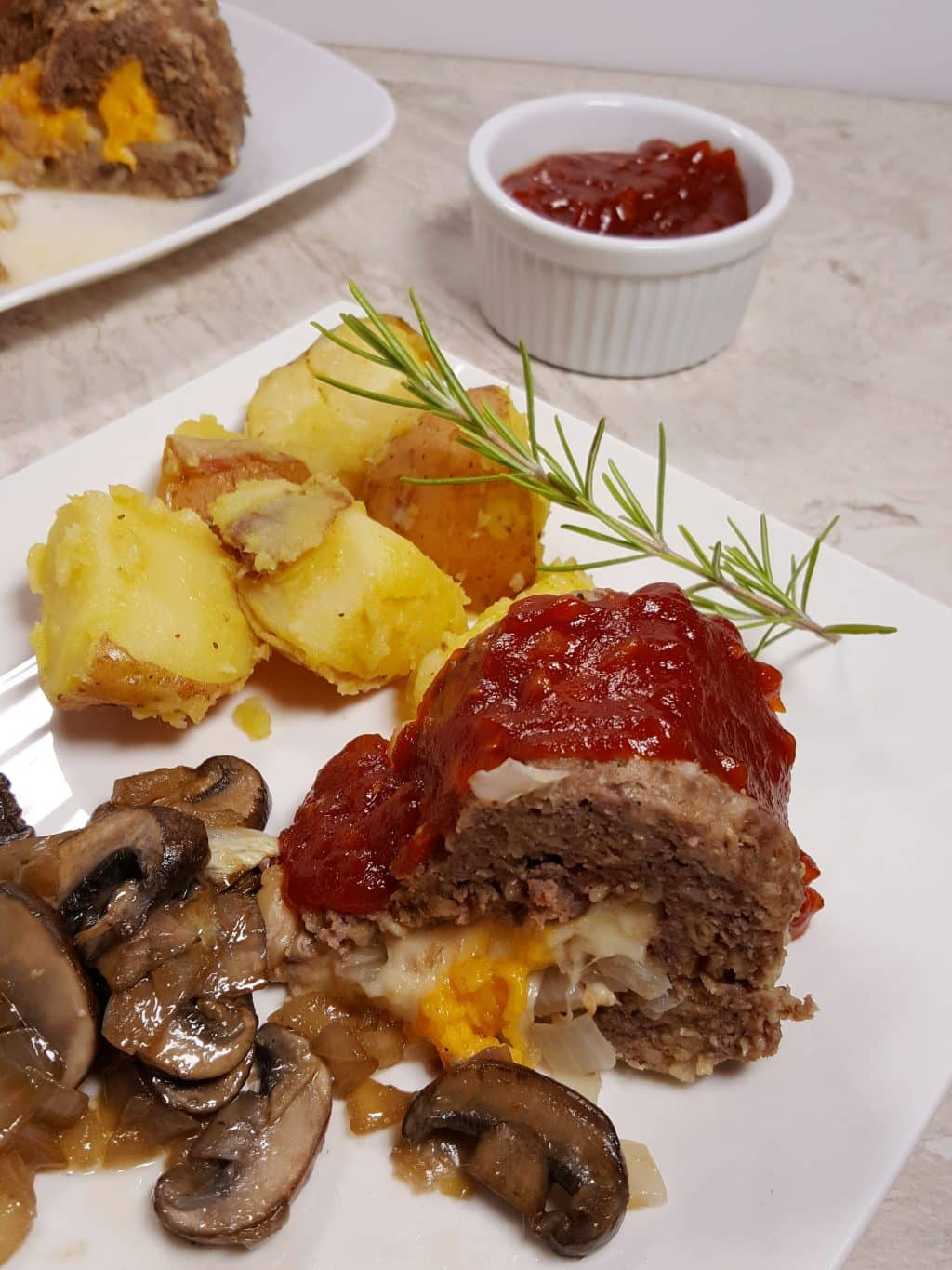 Pressure Cooker Cheeseburger Meatloaf and Rosemary Potatoes