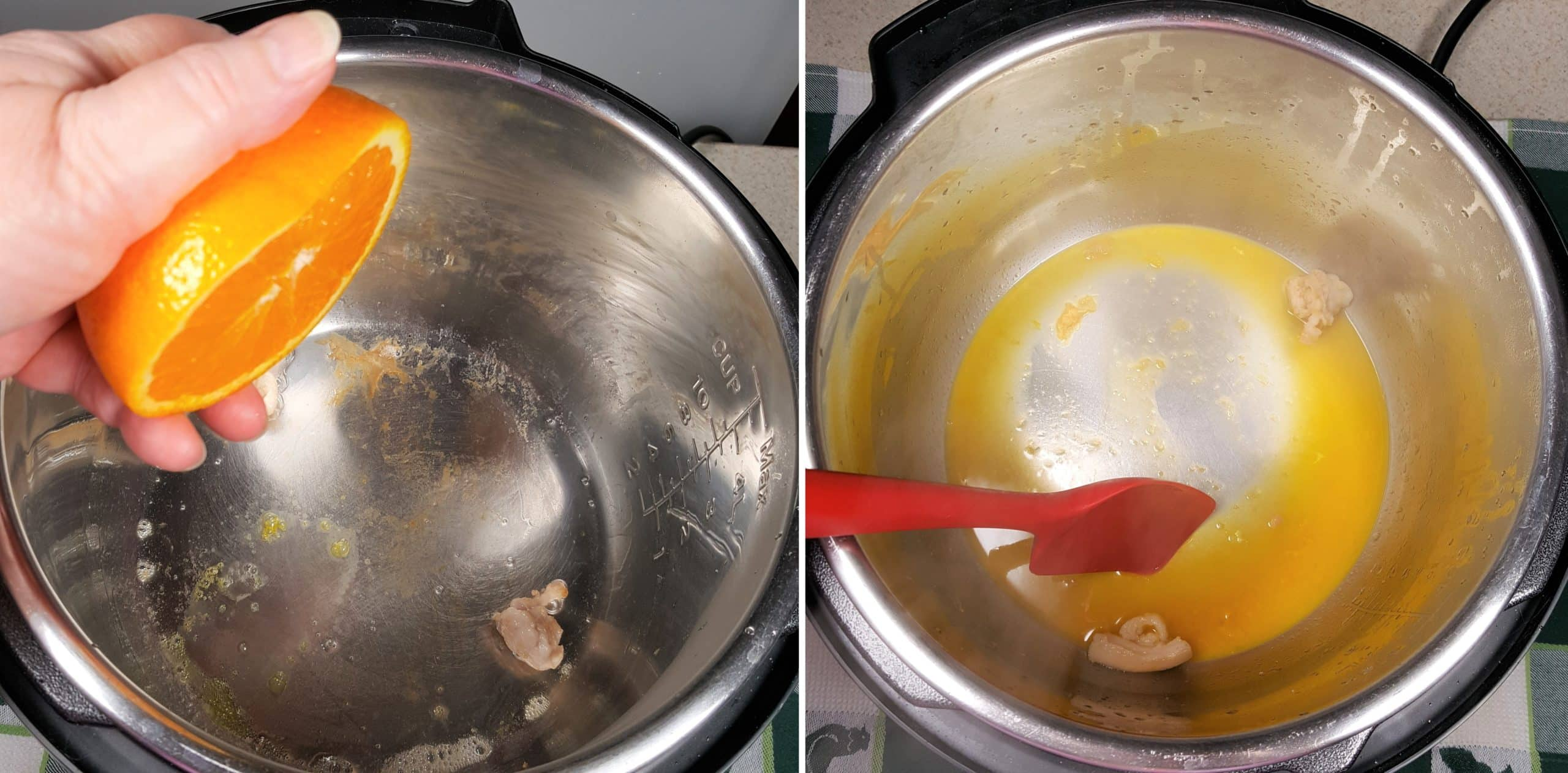 Squeeze Orange Juice into Cooking Pot