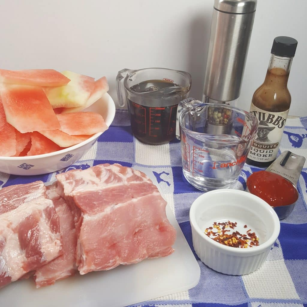Cast of Ingredients for Pressure Cooker Watermelon Baby Back Ribs