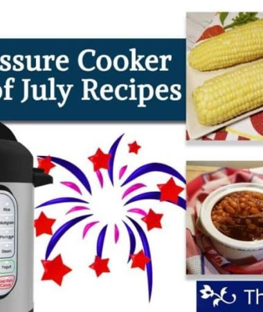 A montage of 4th of July recipes: Corn on the cob, baked beans, ribs, and hot dogs with an Instant Pot.