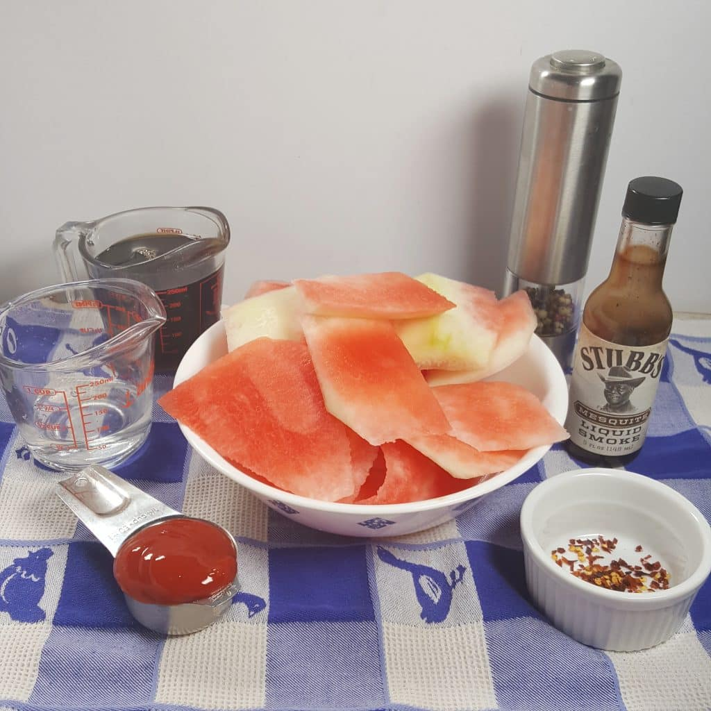 Cast of Ingredients for Pressure Cooker Watermelon Rind Barbecue Sauce