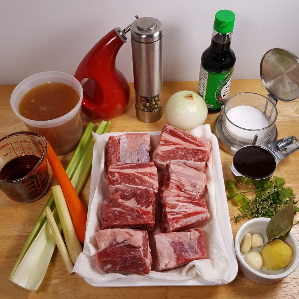 Cast of Ingredients for Pressure Cooker President Obama's Short Ribs