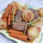 Pressure cooker pot roast recipe plated
