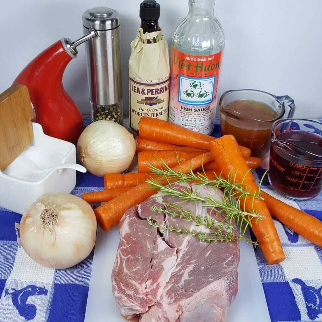 Cast of Ingredients for Pressure Cooker Classic Pot Roast