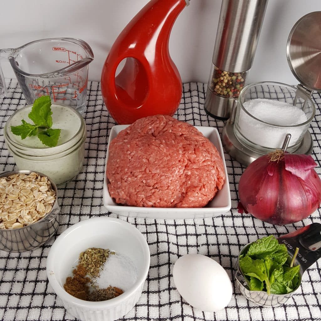 Cast of Ingredients for Pressure Cooker Greek Meatballs