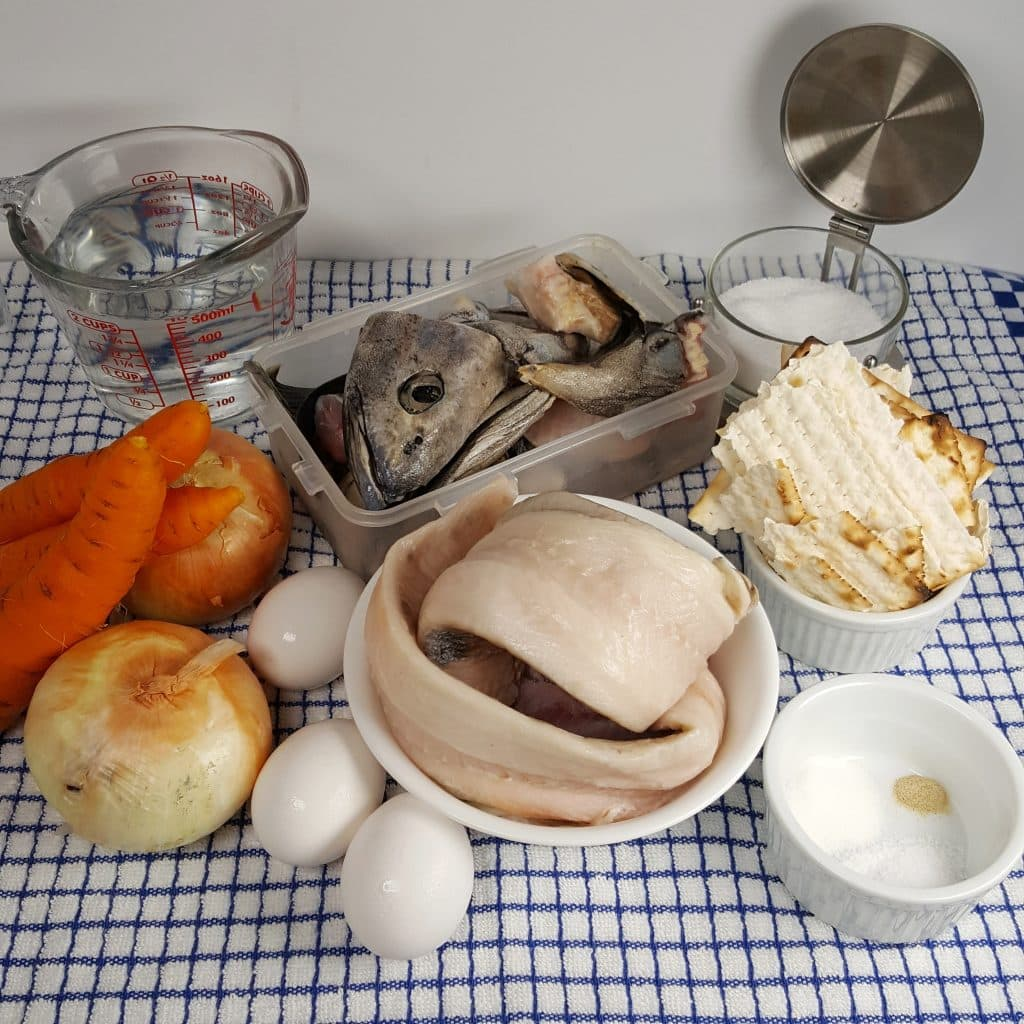 Cast of Ingredients for Pressure Cooker Gefilte Fish
