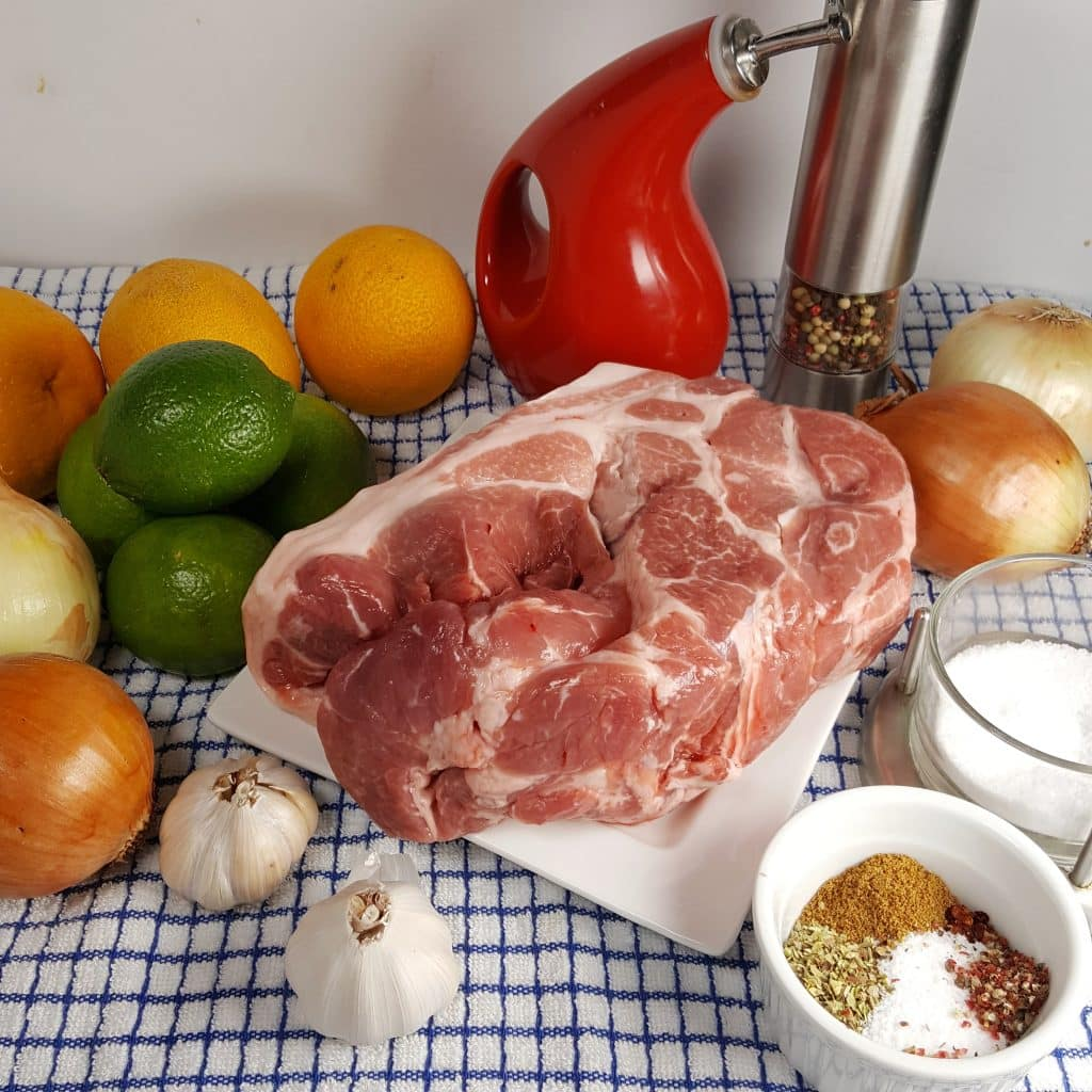Cast of Ingredients for Pressure Cooker Lechón Asado {Cuban Pork with Mojo}