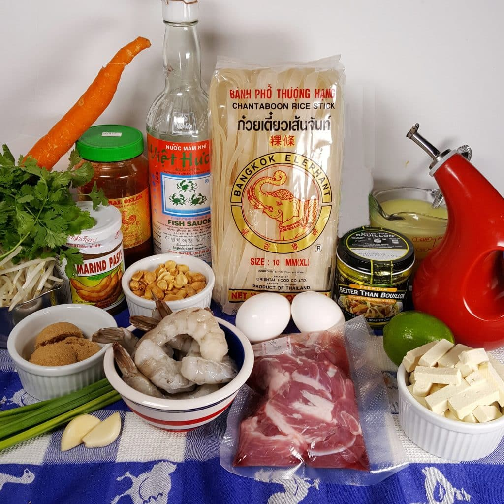 Cast of Ingredients for Pressure Cooker Pad Thai