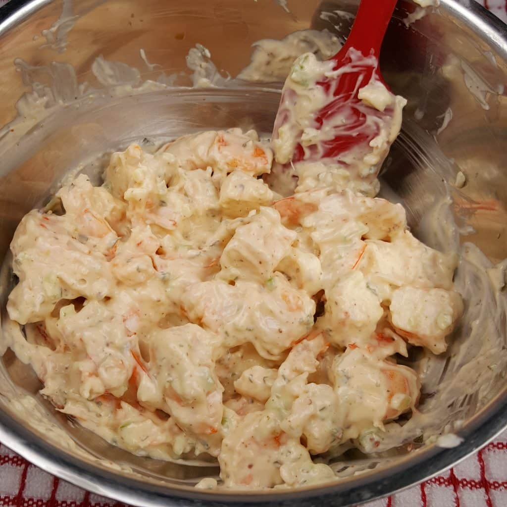 Mix the Dressing into the Warm Shrimp