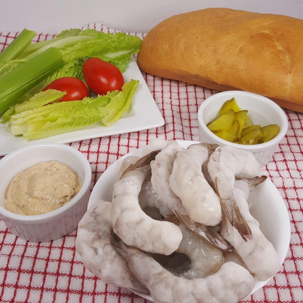 Cast of Ingredients for Pressure Cooker Shrimp Po Boy Roll