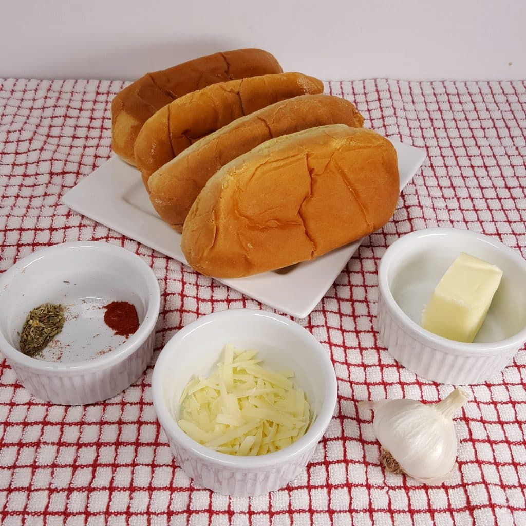 Cast of Ingredients for Air Fryer Garlic Bread Buns