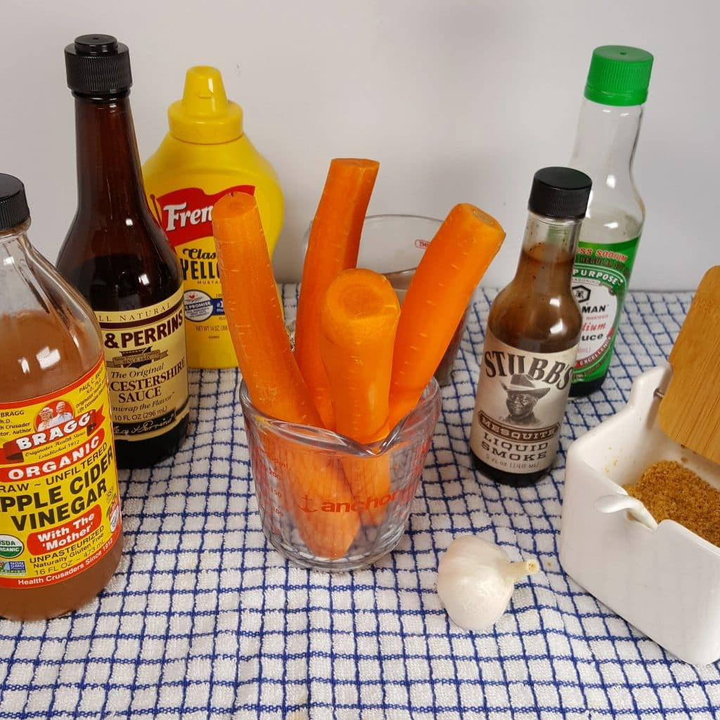 Cast of Ingredients for Pressure Cooker Carrot Hot Dogs