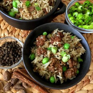 Pressure Cooker Kheema Pulao {Indian Meat & Rice}