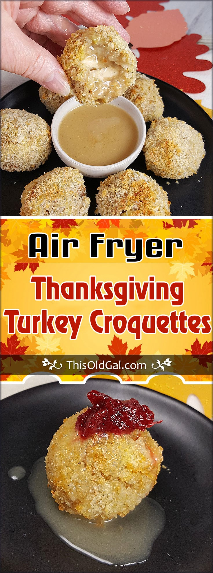 Air Fryer Thanksgiving Turkey Croquettes with Gravy