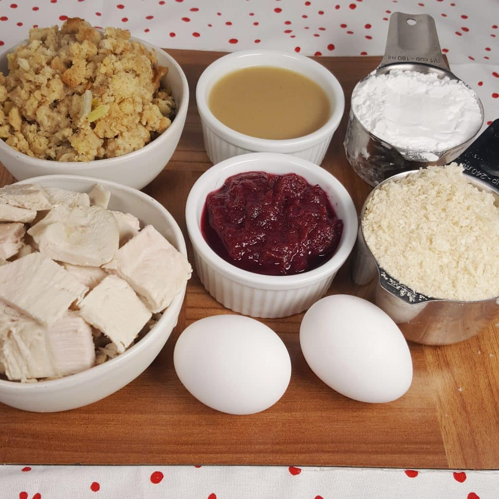 Cast of Ingredients for Air Fryer Thanksgiving Turkey Croquettes