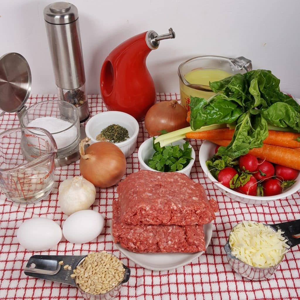 Cast of Ingredients for Pressure Cooker Americana Wedding Soup