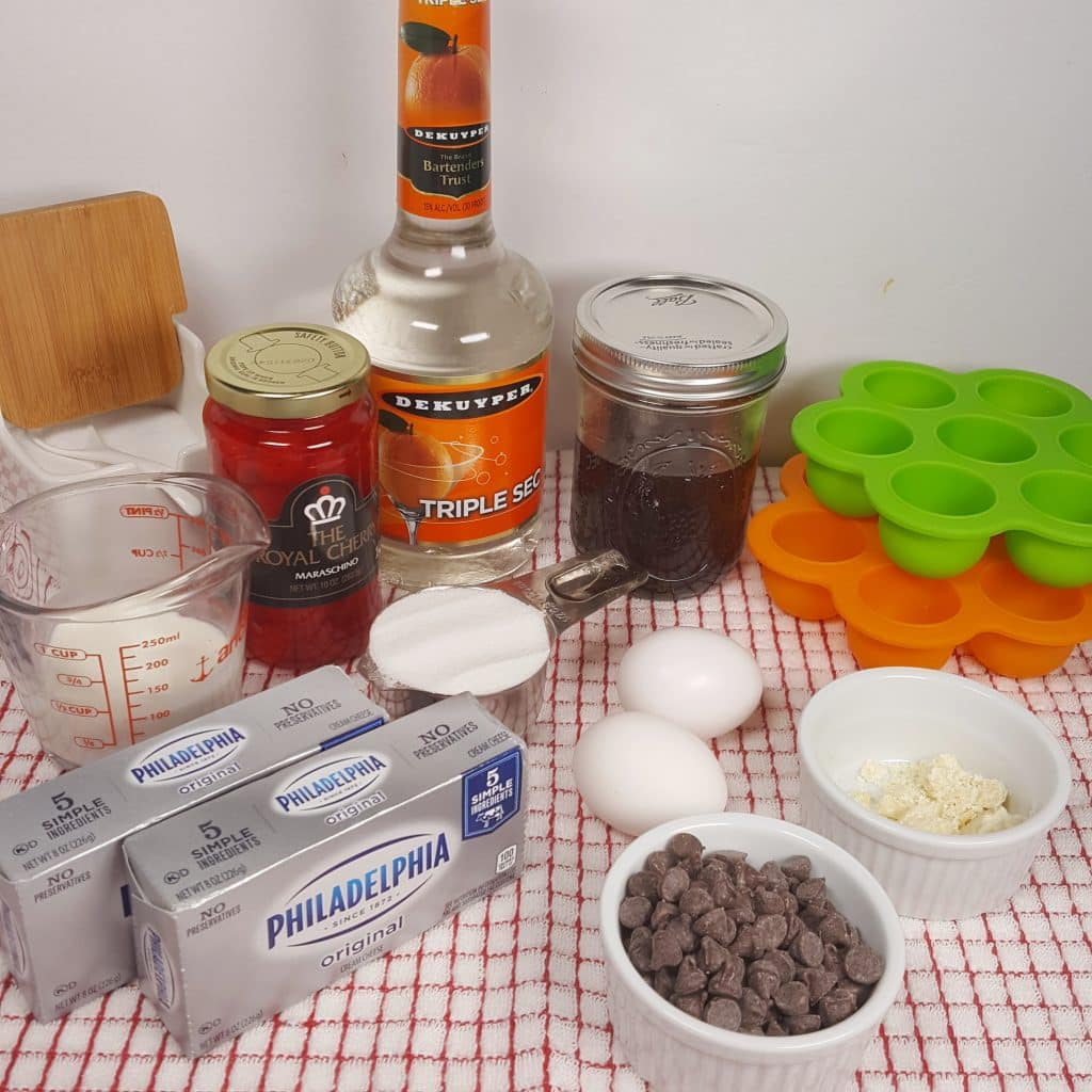 Cast of Ingredients for Pressure Cooker Cherry Cordial Cheesecake Bites