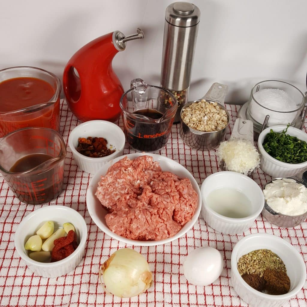 Cast of Ingredients for Pressure Cooker Italian Meatballs in Red Wine Sauce