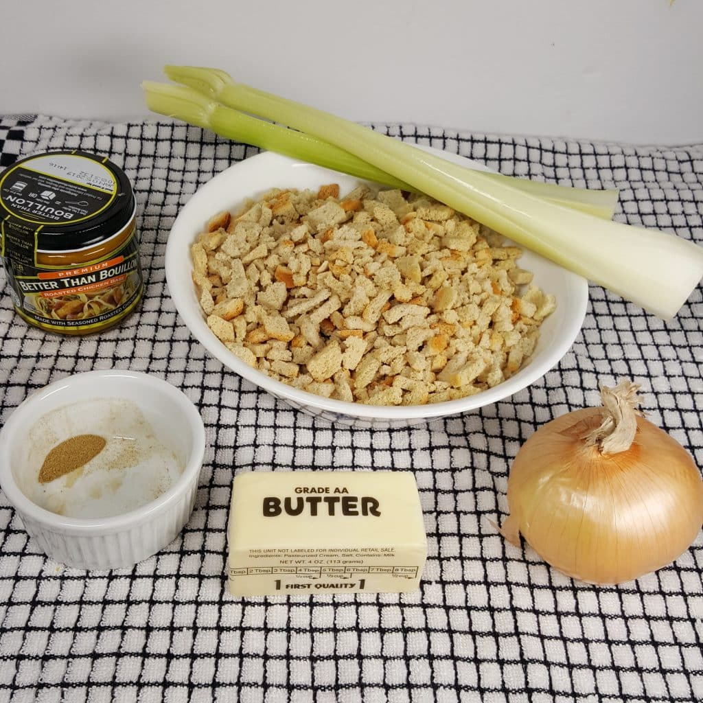 Cast of Ingredients for Pressure Cooker Stuffing Recipe