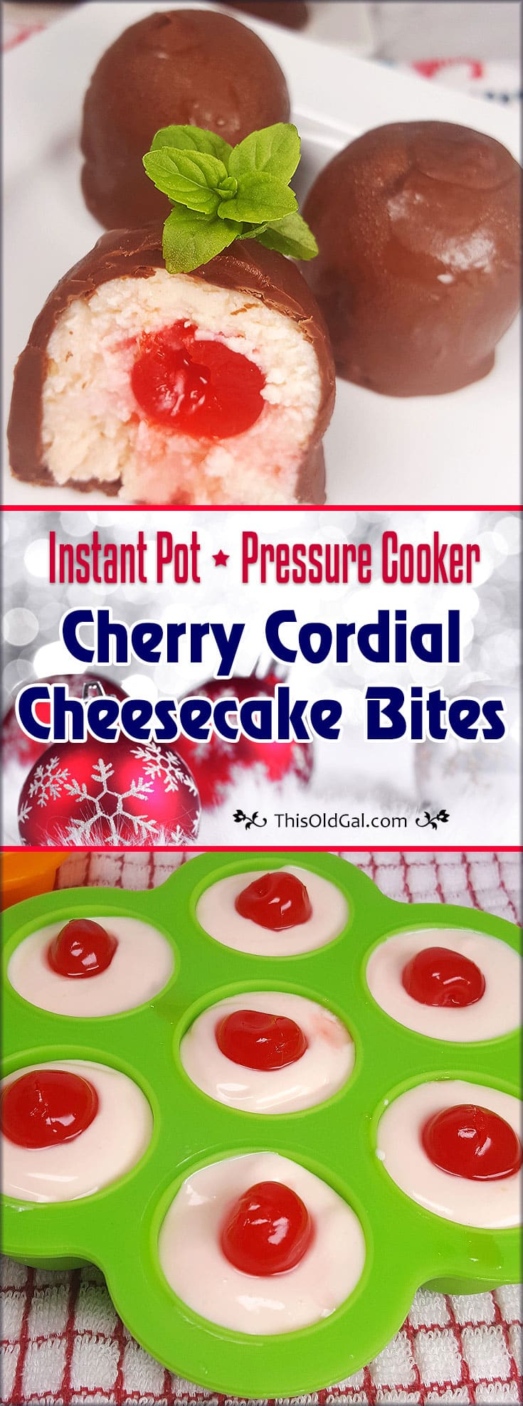 Pressure Cooker Cherry Cordial Cheesecake Bites