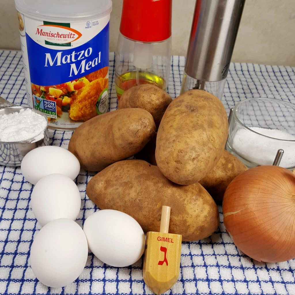 Cast of Ingredients for Air Fryer Chanukkah Latkes