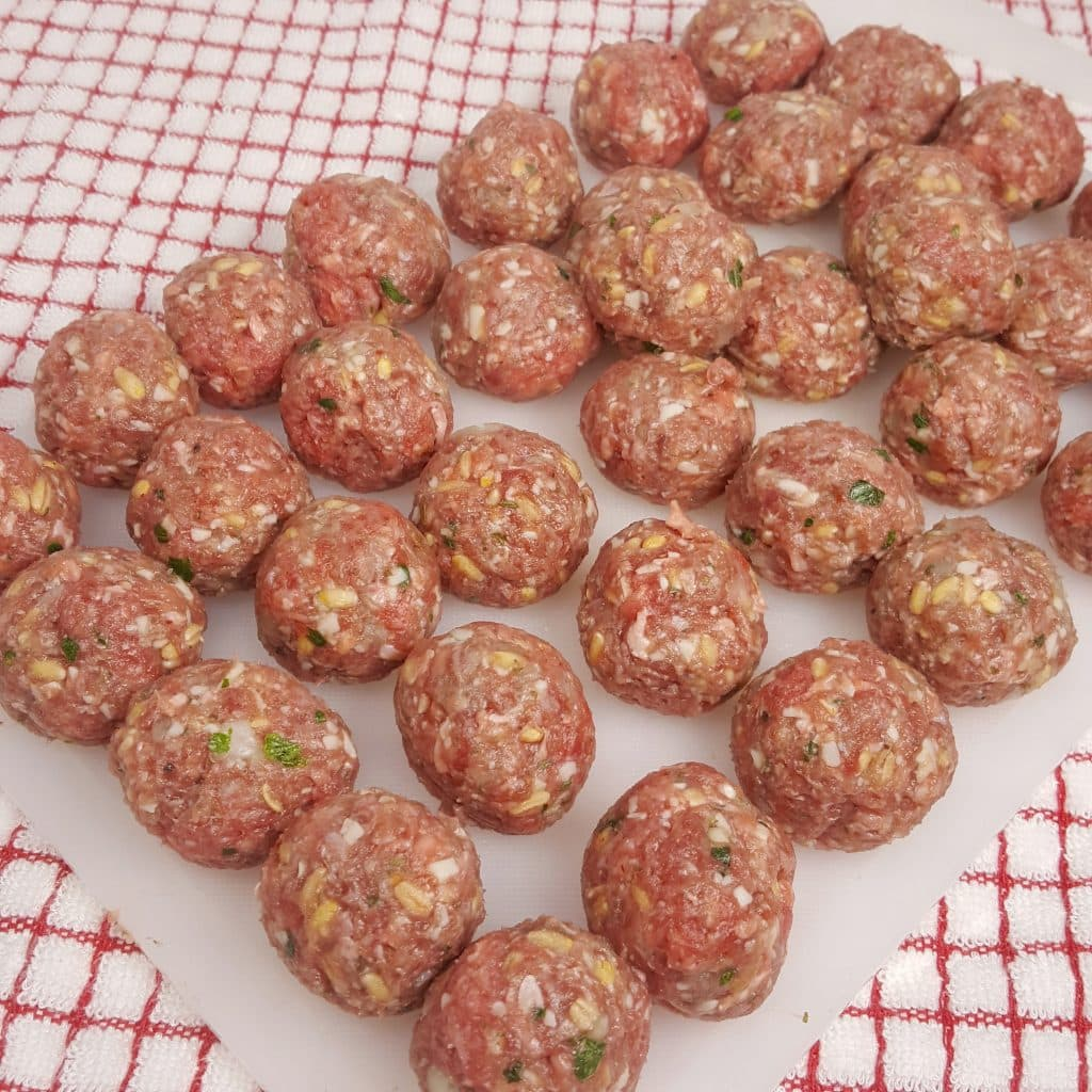 Form Meat Mixture into Tiny Meatballs