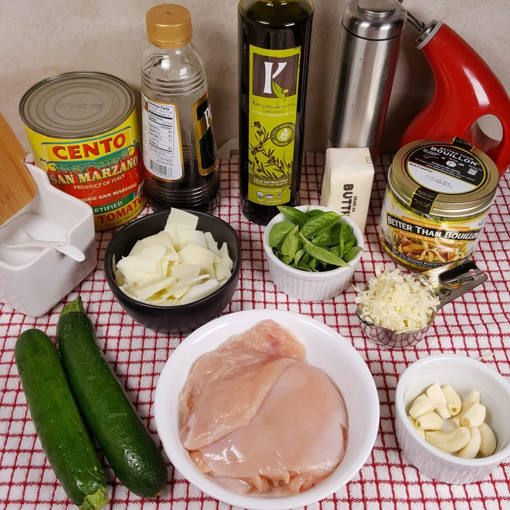 Cast of Ingredients for Pressure Cooker Bruschetta Chicken with Zoodles