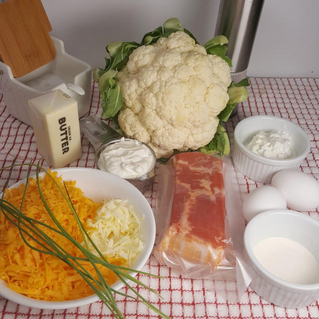 Cast of Ingredients for Pressure Cooker Cauliflower Soufflé