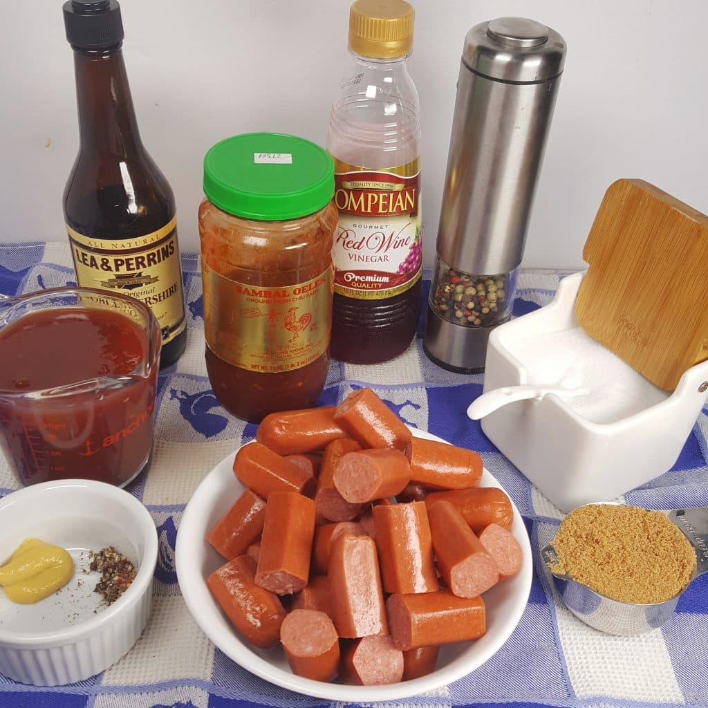 Cast of Ingredients for Pressure Cooker Cocktail Sausage Weenies