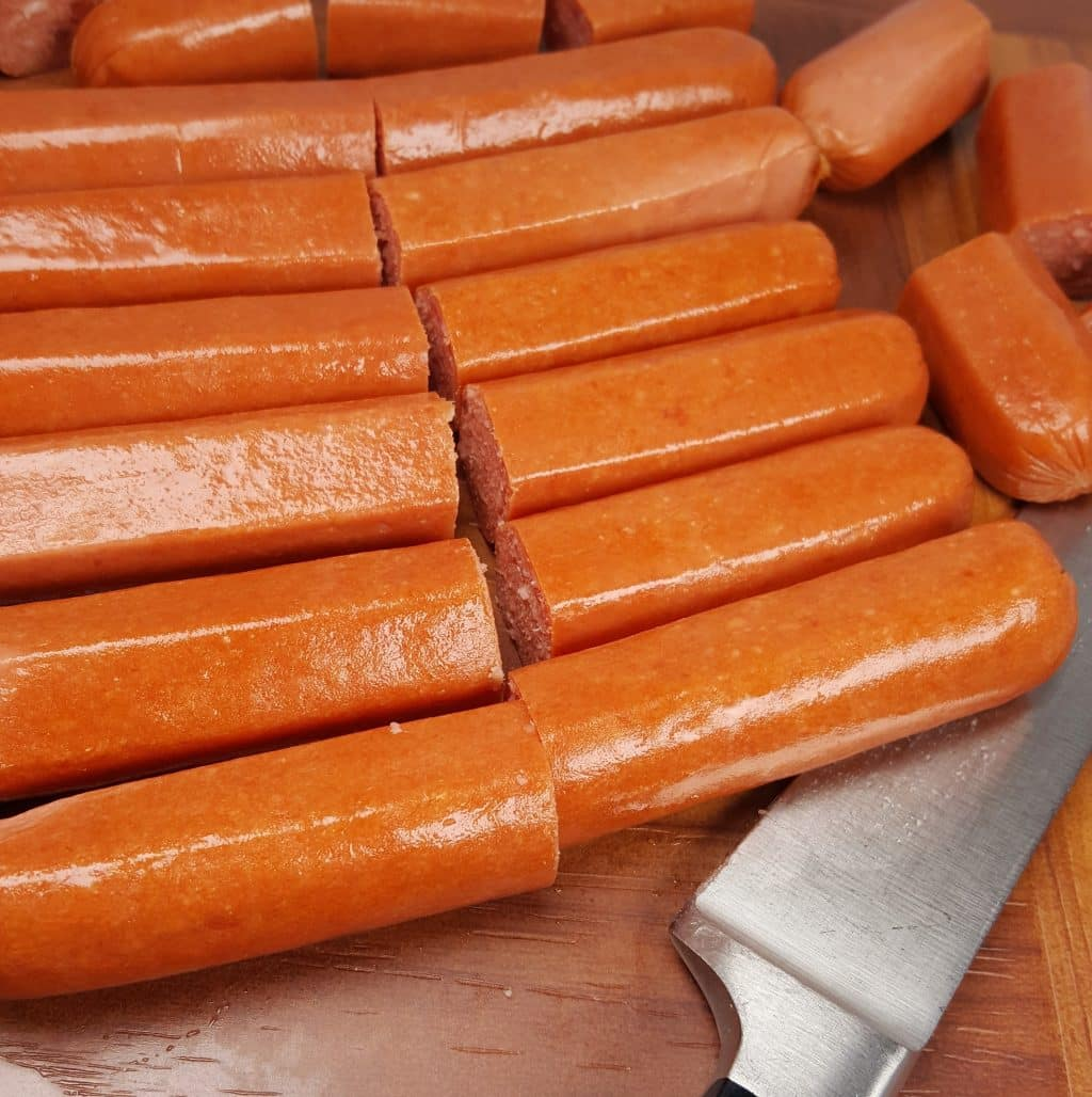 Slice Hot Dogs into Four Pieces