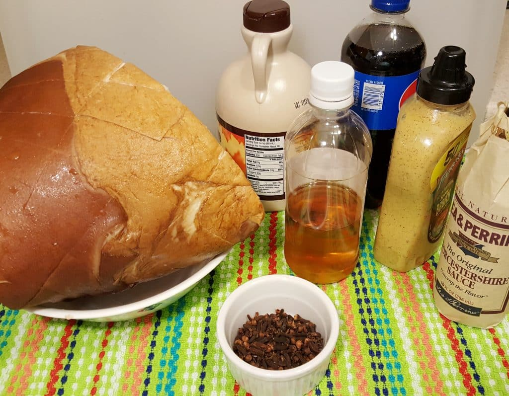 Cast of Ingredients for Pressure Cooker Maple Glazed Holiday Ham