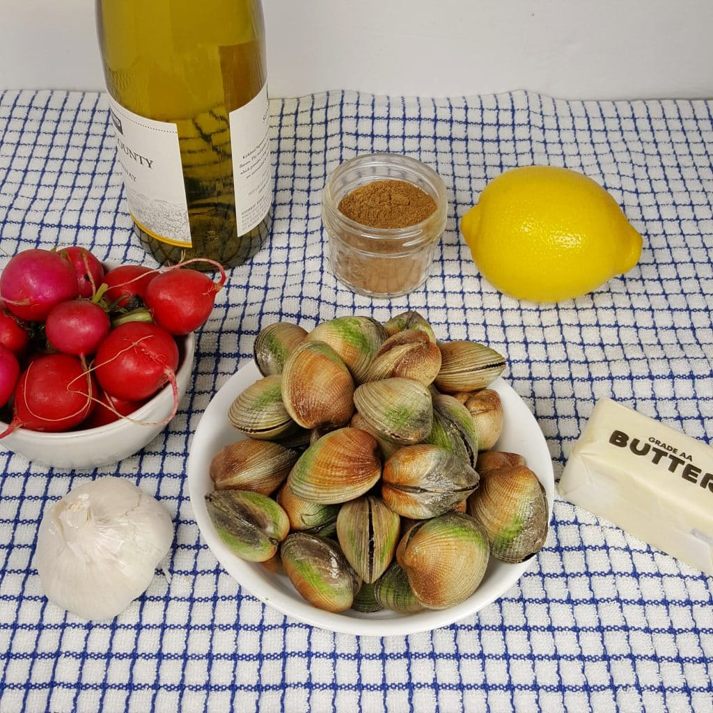 Cast of Ingredients for IInstant Pot Steamed Clams in Wine Garlic Butter