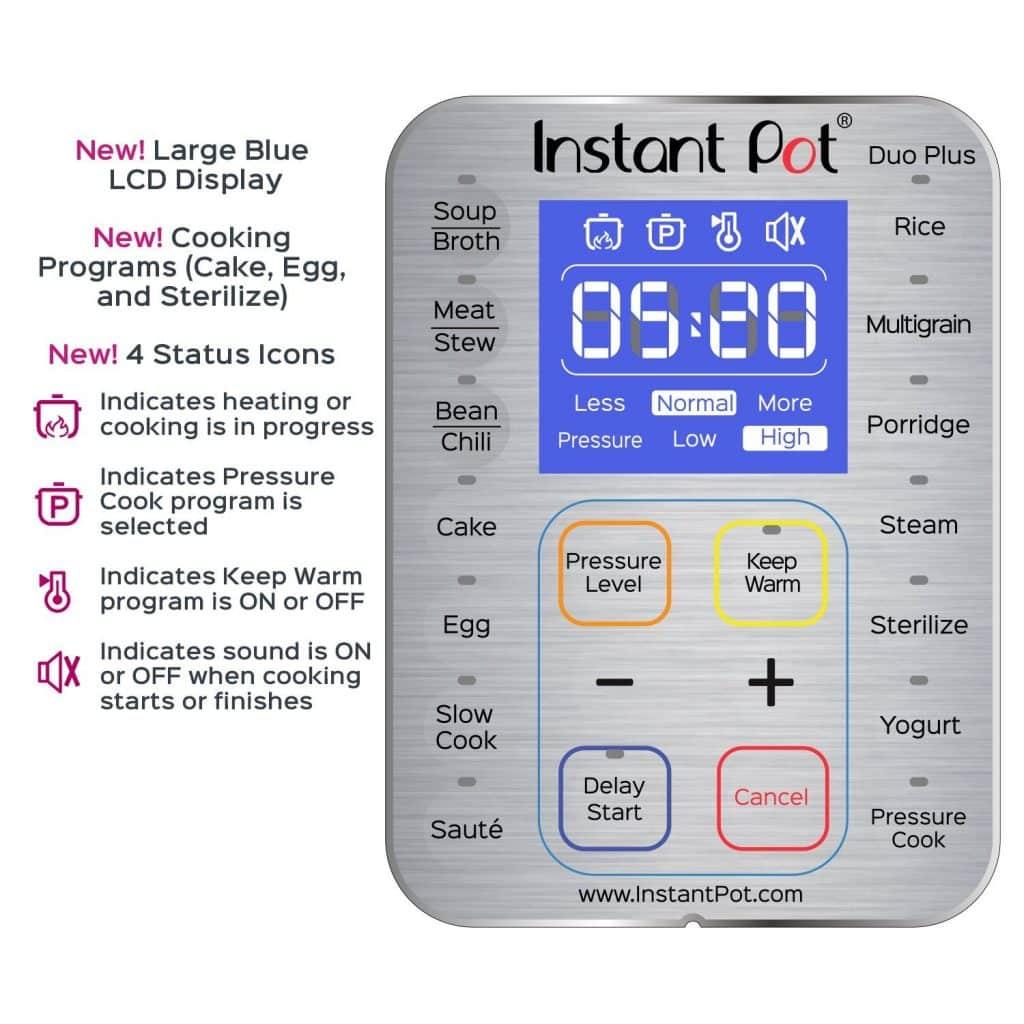 Close Up Photo of Instant Pot DUO Plus Control Panel