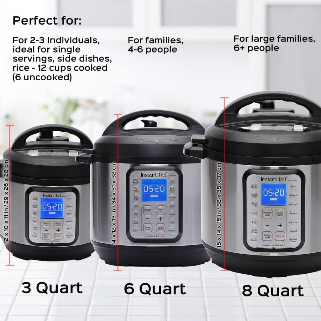 Three Sizes of the Instant Pot DUO Plus