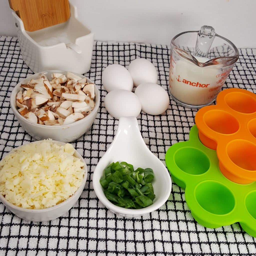 Cast of Ingredients for Pressure Cooker Low Carb Mini Mushroom Quiche