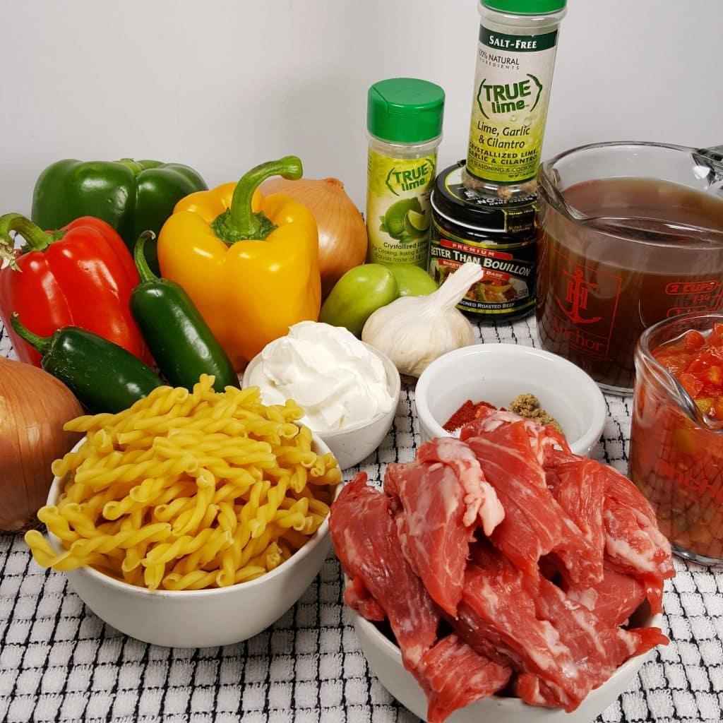 Cast of Ingredients for Pressure Cooker Steak Fajitas Pasta