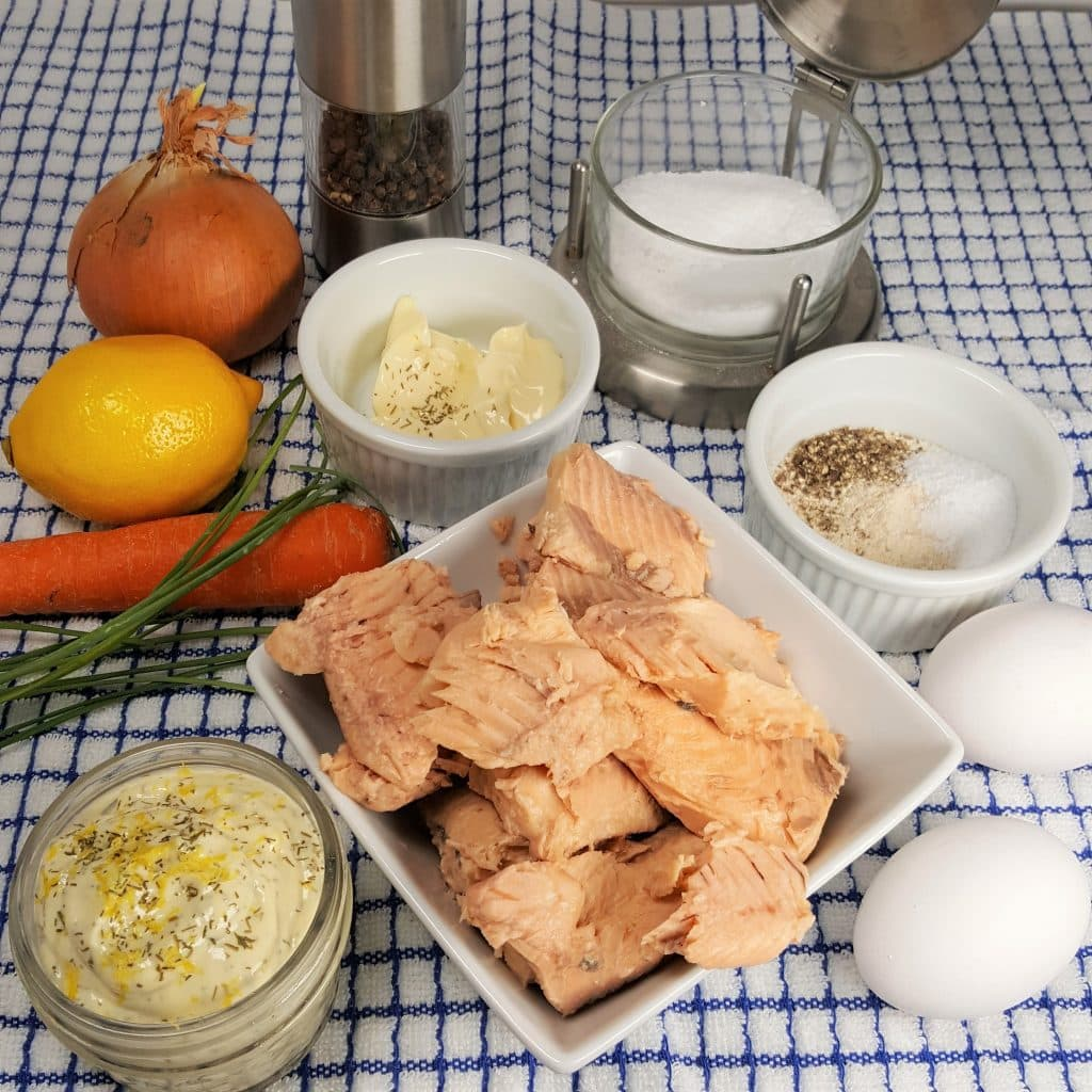 Cast of Ingredients for Air Fryer Salmon Croquettes